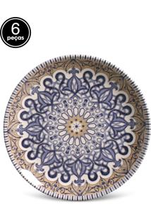 Conjunto 6Pçs Pratos De Sobremesa Porto Brasil Coup Adana Branco/Azul/Amarelo