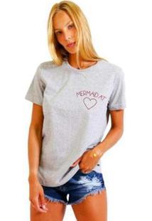 Camiseta Joss Estampada Logo Mermaid At Feminina - Feminino-Mescla