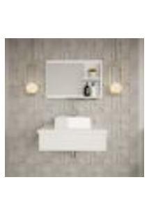 Conjunto Para Banheiro Bancada Com Cuba Q32 Quadrada E Espelheira City 601 Branco Chess