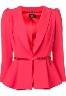 Elisabetta Franchi Chain Waist Peplum Jacket - Rosa