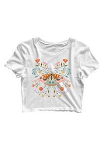 Blusa Blusinha Feminina Cropped Tshirt Camiseta Borboleta Flores Branco