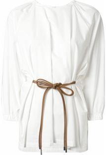 Muller Of Yoshiokubo Blusa Lisa Com Amarração Na Cintura - Branco