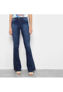 Calça Jeans Grifle Flare Detalhe Com Vinco Na Barra Feminina - Feminino-Azul