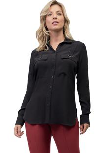 Camisa Mx Fashion Viscose Zaira Preta