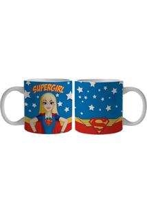 Caneca De Porcelana Azul 300Ml Super Girl Urban Home