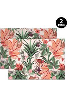 Jogo Americano Mdecore Floral 40X28Cm Rosa 2Pçs