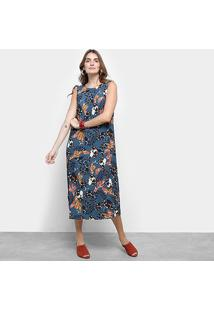 39c8ab93b R$ 229,99. Zattini Vestido Floral Midi Cantão Azul Tom Escuro Regata ...