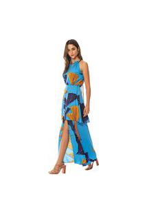 Vestido Morena Rosa Longo Decote Redondo Com Babado Azul