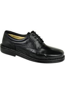 Sapato Conforto Couro Brogue Opananken Masculino - Masculino-Preto