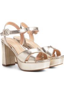 Sandália Shoestock Meia Pata Cruzada Feminina - Feminino-Dourado