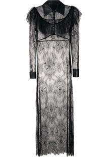 Andrea Bogosian Vestido Rina Couture Rendado - Preto