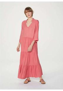 Vestido Midi Alongado Em Tecido Creponado Rosa