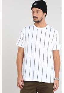 Camiseta Masculina Listrada Manga Curta Gola Careca Off White