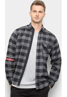 Camisa Xadrez Overcore Masculina - Masculino-Cinza+Preto