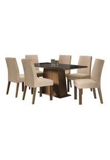 Conjunto Sala De Jantar Madesa Patricia Mesa Tampo De Vidro Com 6 Cadeiras Rustic/Preto/Imperial Cor:Rustic/Preto/Imperial