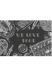 "Tapete ""We Love Food""- Preto & Branco- 60X40Cm- Tapetes Junior"