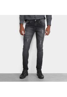 Calça Jeans Skinny Opera Rock Estonada Masculina - Masculino-Preto