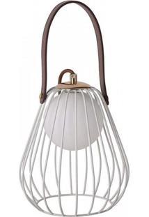 Abajur De Metal Lamp Branco E Marrom Bella Iluminação Bivolt