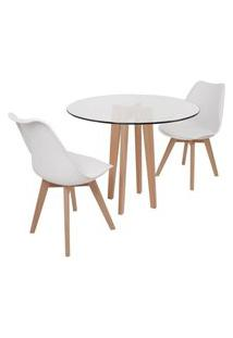 Conjunto Mesa De Jantar Em Vidro 90Cm Com Base Vértice + 2 Cadeiras Leda - Branco