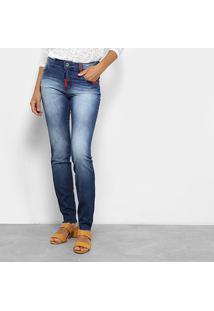 Calça Jeans Skinny Coca-Coca Feminina - Feminino-Azul