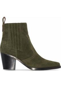Ganni Ankle Boot Western - Verde
