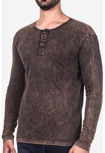 Camiseta Hermoso Compadre Manga Longa Marmorizada - Masculino-Marrom