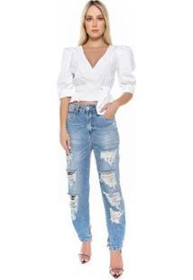 Blusa Caos Tricoline Amarração Feminina - Feminino-Branco