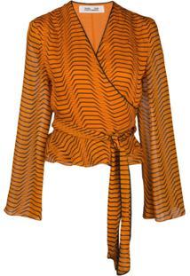 Dvf Diane Von Furstenberg Abstract Print Wrap Blouse - Laranja