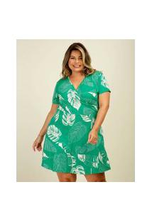 Vestido Plus Size Feminino Transpassado Estampa Folhas