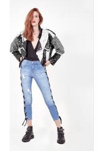 Calça Jeans Amapô Skinny Cropped Lace Feminina - Feminino-Azul