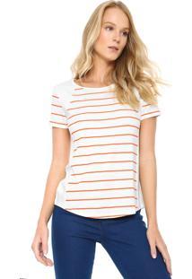 Camiseta Lunender Listrada Off-White/Laranja