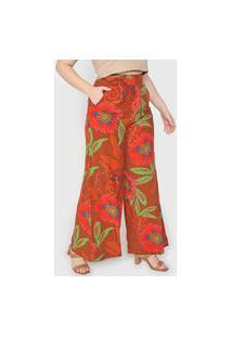 Calça Cantão Pantalona Tropicana Marrom/Vermelha