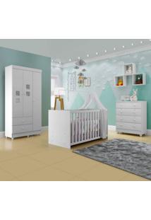 Quarto De Bebê Completo Com Guarda Roupa 3 Portas Cômoda E Berço Life Siena Móveis Branco