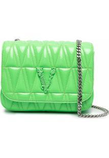 Versace Bolsa Transversal Matelassê Virtus - Verde