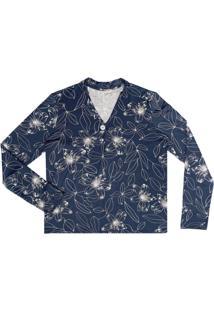 Blusa Estampada Feminina Azul