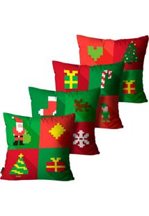 Kit Com 4 Capas Para Almofadas Premium Cetim Mdecore Natal Papai Noel Vermelha 45X45Cm
