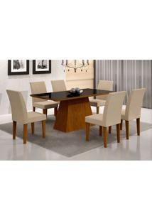 Conjunto De Mesa De Jantar Luna Ii Com Vidro E 6 Cadeiras Grécia Veludo Imbuia E Creme