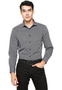 Camisa Aramis Manga Longa Menswear Full Print Preta/Branca