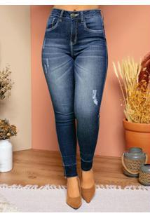Calça Jeans Skinny Com Desfiado Na Barra
