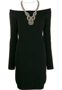 Moschino Off-Shoulders Embellished Dress - Preto