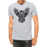 Camiseta Criativa Urbana Coruja Asas Abertas Tribal Tattoo Manga Curta -  Masculino 4f4fd3cb855