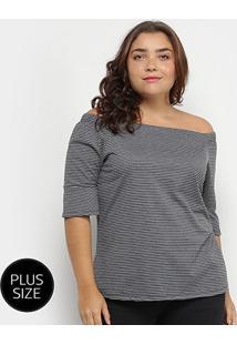 Blusa Plus Size Lecimar Listrada Feminina - Feminino-Preto