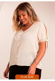 Camisa Plus Size Feminina De Botões Bege