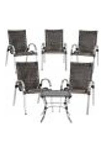 Conjunto 5 Cadeiras E Mesa De Centro Colômbia Aluminio Área Jardim Varanda Fibra Sintetica Pedra Ferro