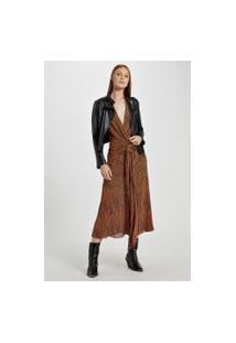 Vestido Midi Decote V Estampado Com Amarração Frente Est Listra Monica Laranja - 40