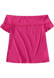 Blusa Pink Ombro A Ombro Canelada