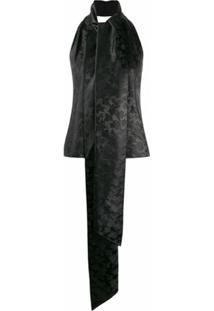 Givenchy Blusa Jacquard Floral Com Abertura Traseira - Preto