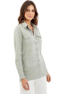 Camisa Le Lis Blanc Mel New Suede Pomme Verde Feminina (Pomme, 48)
