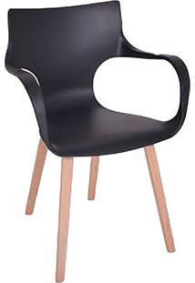 Cadeira Asa- Preta & Marrom Claro- 83X59X43Cm- Ffalkk