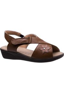Sandália Doctor Shoes Couro Feminina - Feminino-Caramelo